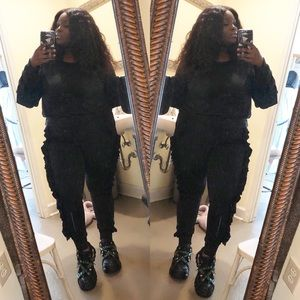 Other - Black Ruffle 2piece Jogger